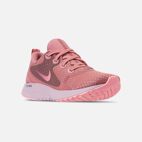 Three Quarter view of Women's Nike Legend React Running Shoes in Rust Pink/Pink Tint/Smokey Mauve