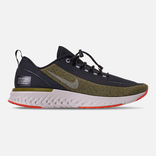 4b32aba1c7e48 Right view of Men s Nike Odyssey React Shield Running Shoes in Olive Flak Metallic  Silver