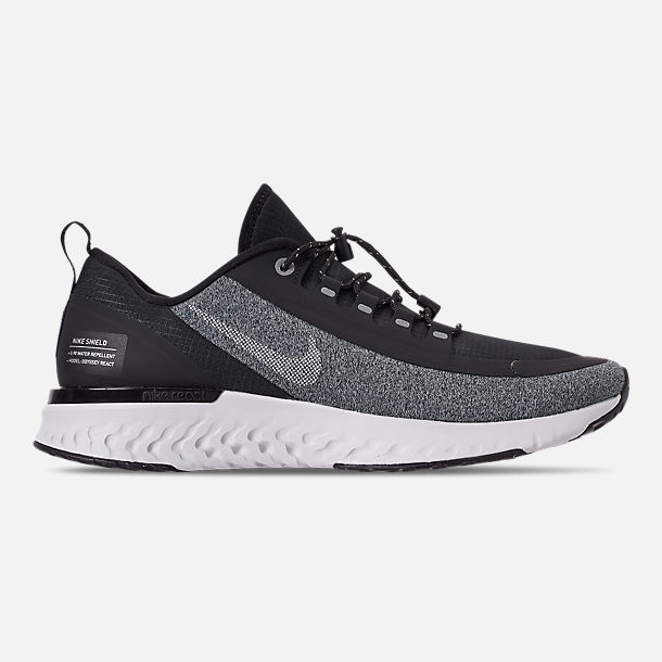 Right view of Women's Nike Odyssey React Shield Running Shoes in Black/Metallic Silver/Cool Grey