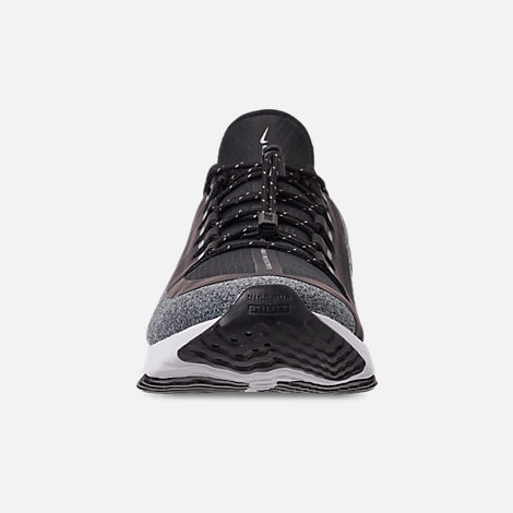 Front view of Women's Nike Odyssey React Shield Running Shoes in Black/Metallic Silver/Cool Grey
