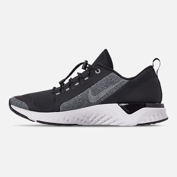 Left view of Women's Nike Odyssey React Shield Running Shoes in Black/Metallic Silver/Cool Grey