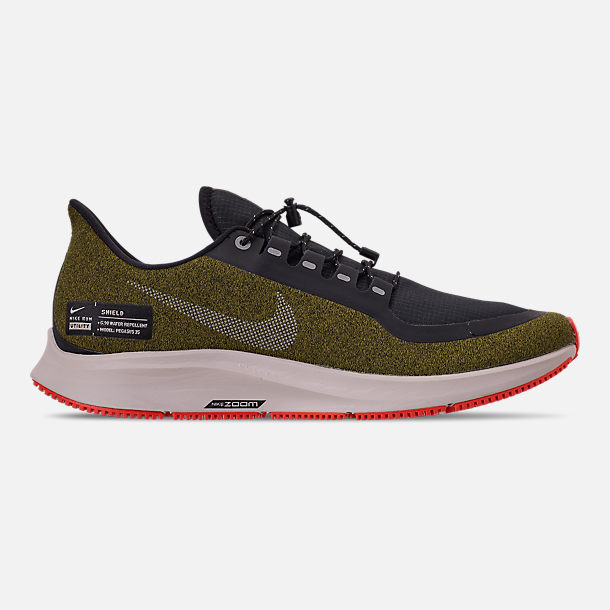 Right view of Men's Nike Air Zoom Pegasus 35 Shield Running Shoes in Olive Flak/Metallic Silver/Black/String