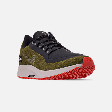 Three Quarter view of Men's Nike Air Zoom Pegasus 35 Shield Running Shoes in Olive Flak/Metallic Silver/Black/String