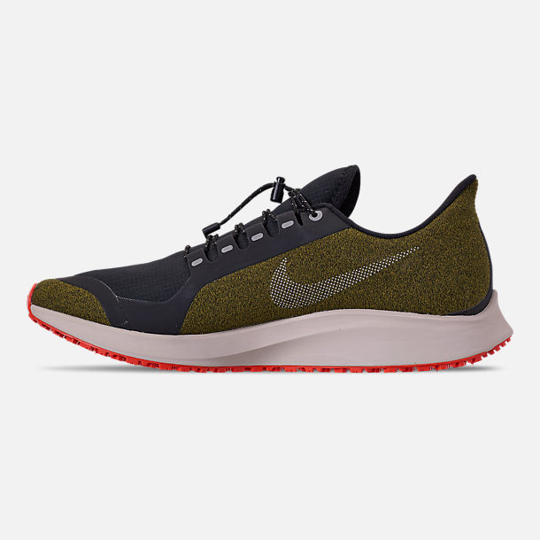 Left view of Men's Nike Air Zoom Pegasus 35 Shield Running Shoes in Olive Flak/Metallic Silver/Black/String