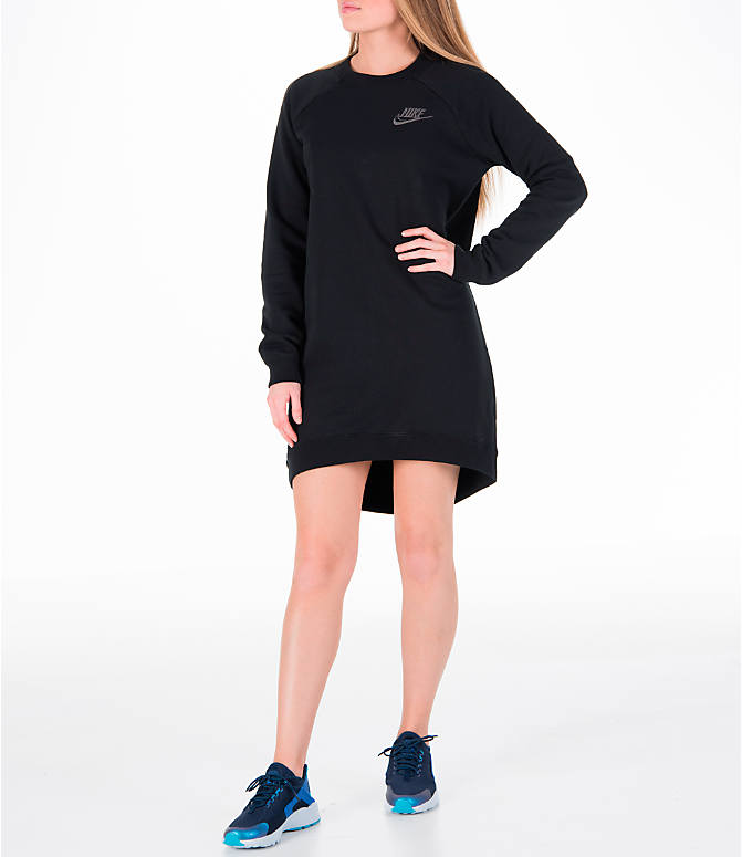 Front view of Women's Nike Sportswear Rally Crew Dress in Black/Iridescent