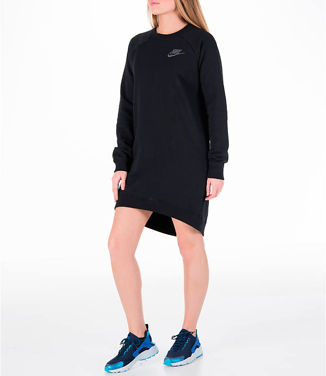Front Three Quarter view of Women's Nike Sportswear Rally Crew Dress in Black/Iridescent