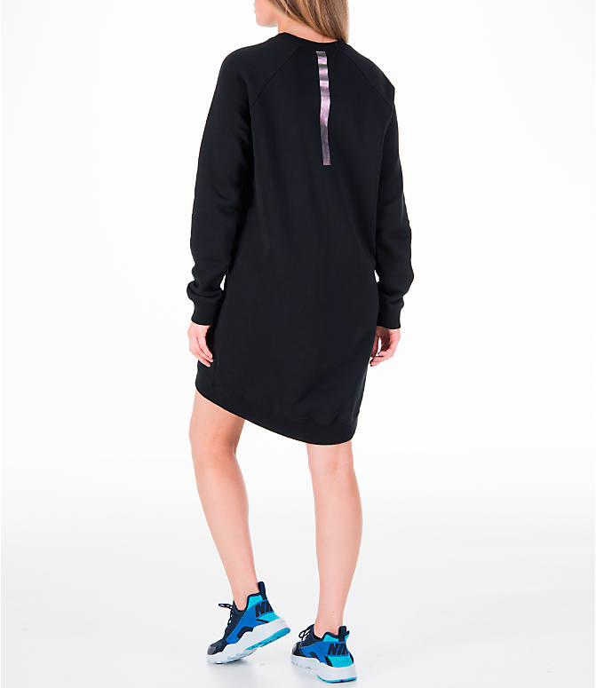 Back Left view of Women's Nike Sportswear Rally Crew Dress in Black/Iridescent