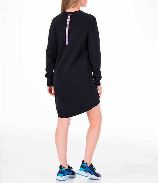 Back Right view of Women's Nike Sportswear Rally Crew Dress in Black/Iridescent