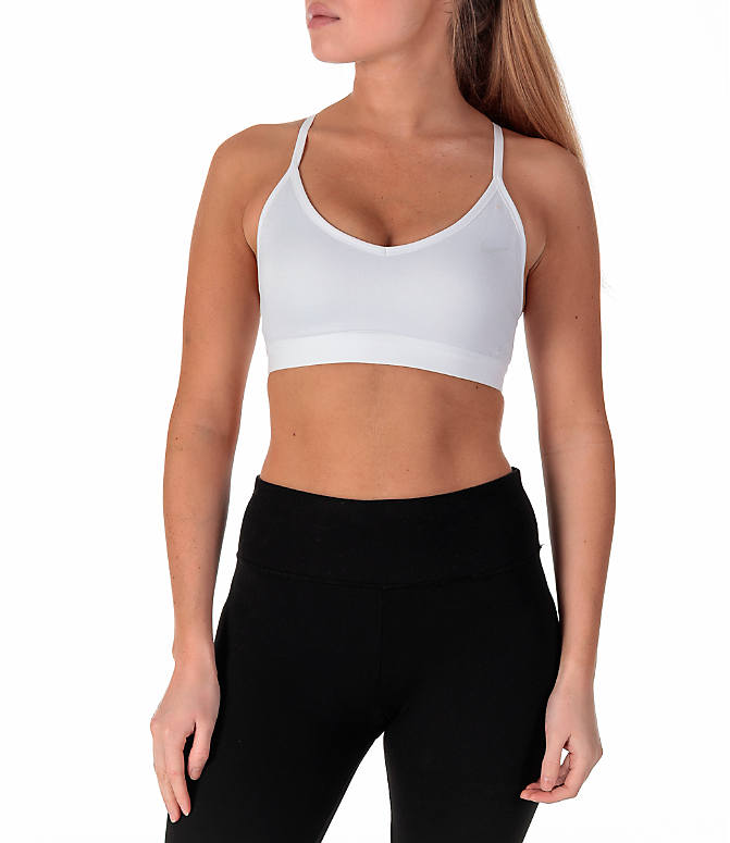 Front view of Women's Nike Pro Indy Sparkle Sports Bra in White/Metallic Silver