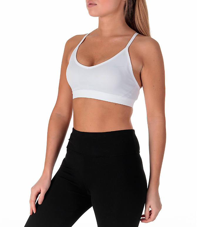 Front Three Quarter view of Women's Nike Pro Indy Sparkle Sports Bra in White/Metallic Silver