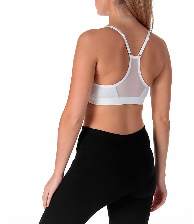 Back Left view of Women's Nike Pro Indy Sparkle Sports Bra in White/Metallic Silver