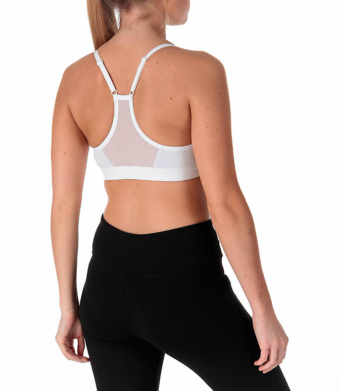 Back Right view of Women's Nike Pro Indy Sparkle Sports Bra in White/Metallic Silver