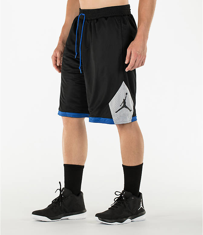 Detail 1 view of Men's Air Jordan 5 Reversible Basketball Shorts in Black/Game Royal/Wolf Grey