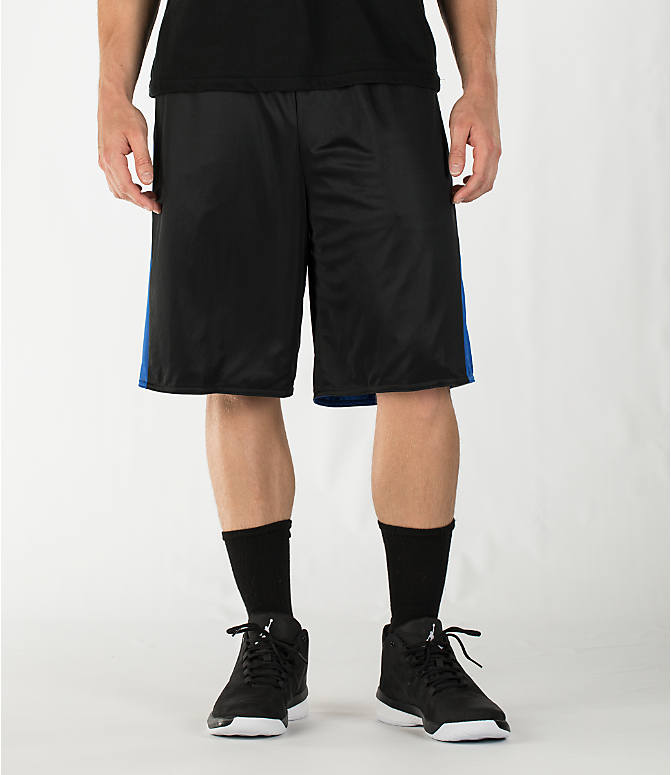 Front view of Men's Air Jordan 5 Reversible Basketball Shorts in Black/Game Royal/Wolf Grey