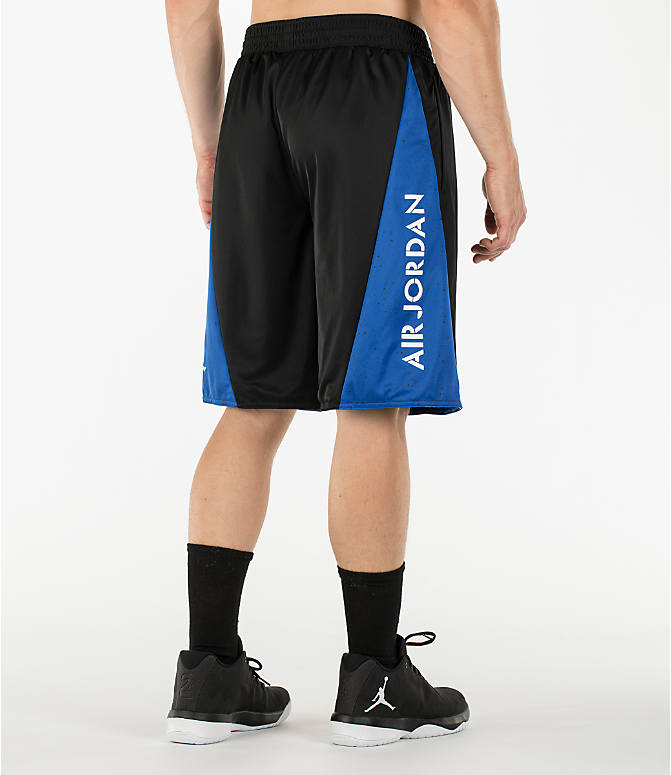 Back Left view of Men's Air Jordan 5 Reversible Basketball Shorts in Black/Game Royal/Wolf Grey