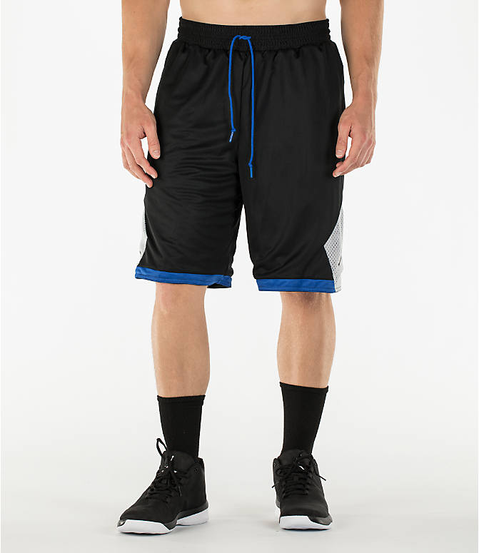 Back Right view of Men's Air Jordan 5 Reversible Basketball Shorts in Black/Game Royal/Wolf Grey