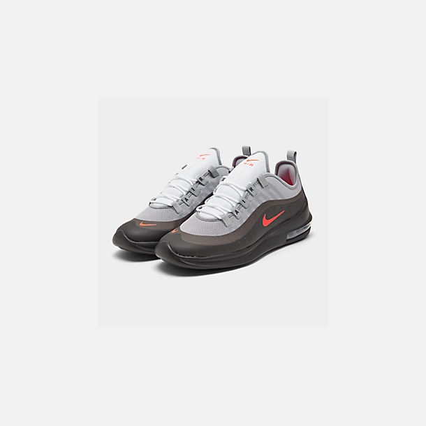 Three Quarter view of Men's Nike Air Max Axis Casual Shoes in Wolf Grey/Total Crimson/Black