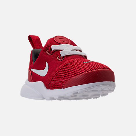 Three Quarter view of Boys' Toddler Nike Presto Fly Casual Shoes in Gym Red/White/Dark Grey