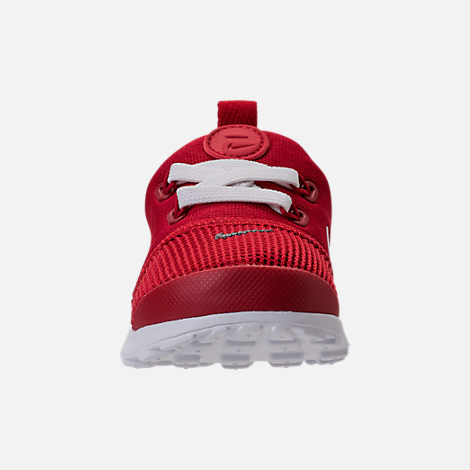 Front view of Boys' Toddler Nike Presto Fly Casual Shoes in Gym Red/White/Dark Grey
