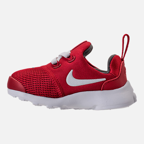 Left view of Boys' Toddler Nike Presto Fly Casual Shoes in Gym Red/White/Dark Grey