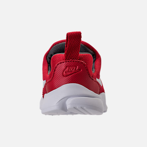 Back view of Boys' Toddler Nike Presto Fly Casual Shoes in Gym Red/White/Dark Grey