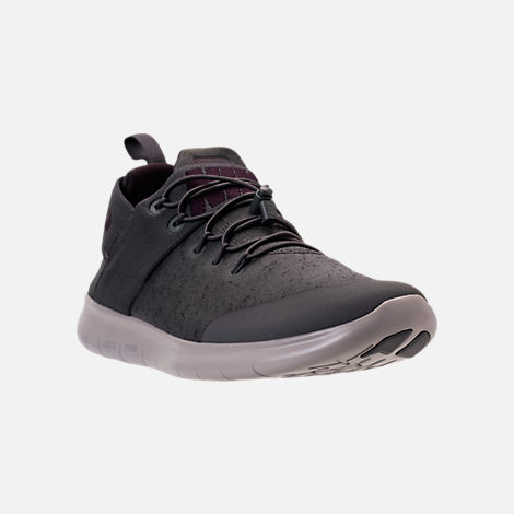 Three Quarter view of Men's Nike Free RN Commuter Premium 2017 Running Shoes in Midnight Fog/Port Wine/Cobblestone