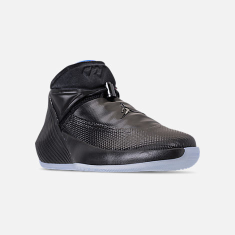 Three Quarter view of Men's Air Jordan Why Not Zer0.1 Basketball Shoes in Black/Pink Blast/Signal Blue