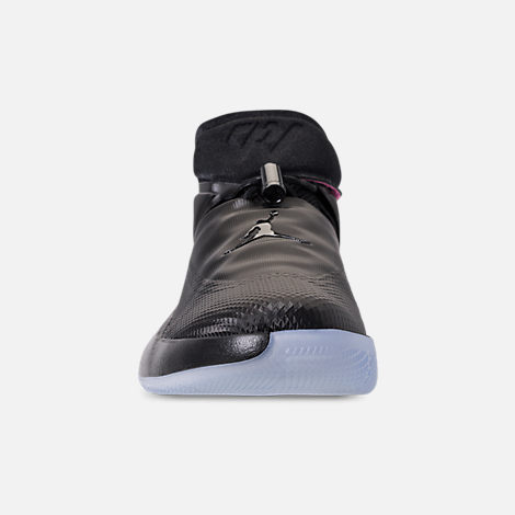 Front view of Men's Air Jordan Why Not Zer0.1 Basketball Shoes in Black/Pink Blast/Signal Blue