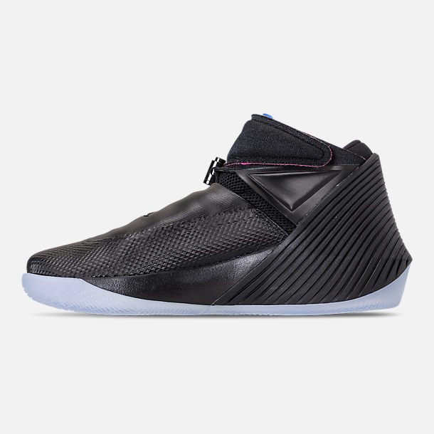 Left view of Men's Air Jordan Why Not Zer0.1 Basketball Shoes in Black/Pink Blast/Signal Blue