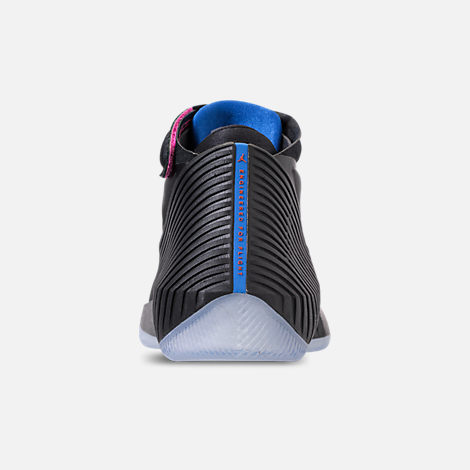 Back view of Men's Air Jordan Why Not Zer0.1 Basketball Shoes in Black/Pink Blast/Signal Blue
