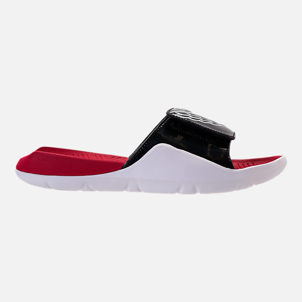 Right view of Mens Jordan Hydro 7 Slide Sandals in BlackWhiteGym Red