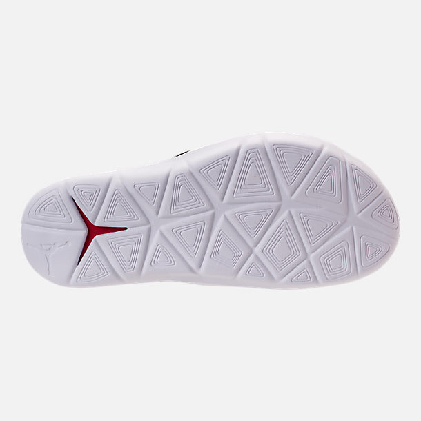 Bottom view of Men's Jordan Hydro 7 Slide Sandals in Black/White/Gym Red