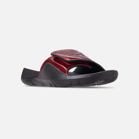 024dacf40a9d Three Quarter view of Men s Jordan Hydro 7 Slide Sandals in Gym Red Black