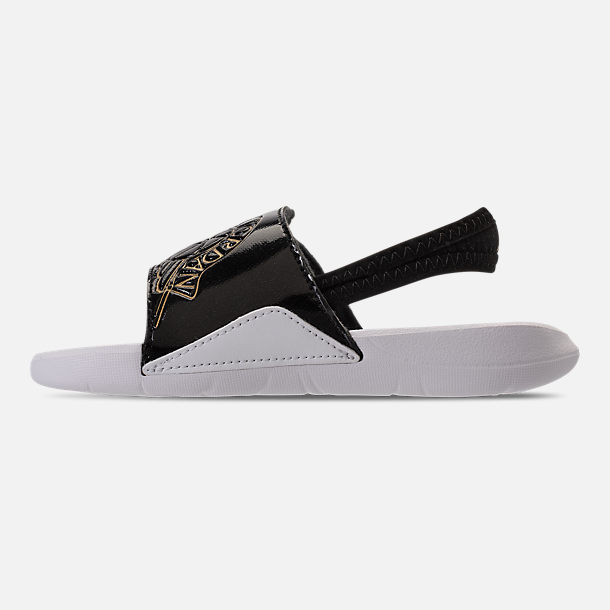 Left view of Boys' Toddler Air Jordan Hydro 7 Retro Slide Sandals in Black/Gold