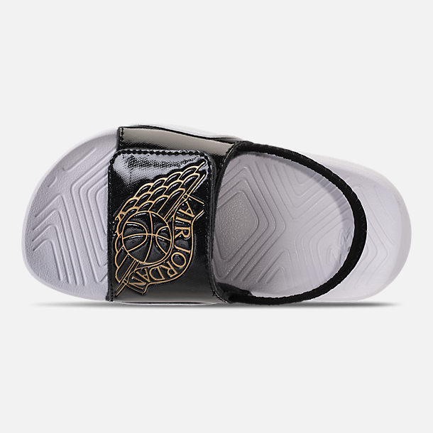 Top view of Boys' Toddler Air Jordan Hydro 7 Retro Slide Sandals in Black/Gold