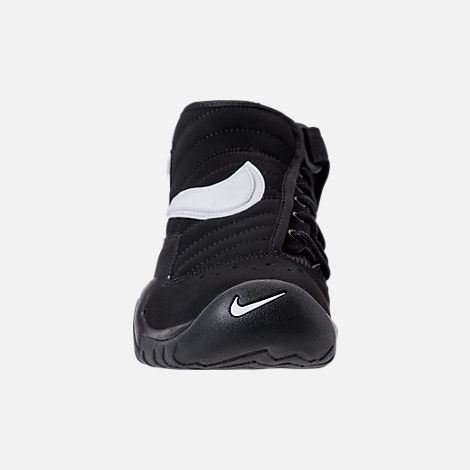 Front view of Boys' Grade School Nike Air Shake NDestrukt Basketball Shoes in Black/White/Team Orange