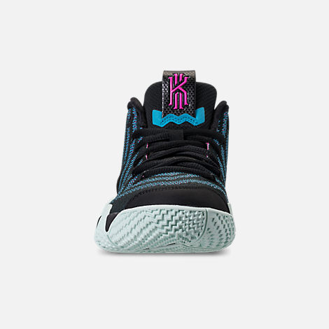 Front view of Boys' Big Kids' Nike Kyrie 4 Basketball Shoes in Black/Black/Laser Fuchsia