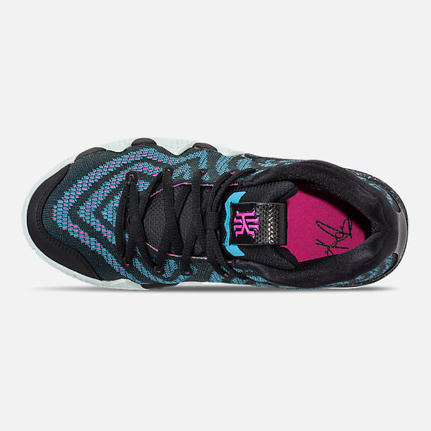 Top view of Boys' Big Kids' Nike Kyrie 4 Basketball Shoes in Black/Black/Laser Fuchsia