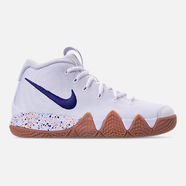 Right view of Boys' Big Kids' Nike Kyrie 4 Basketball Shoes in White/Deep Royal