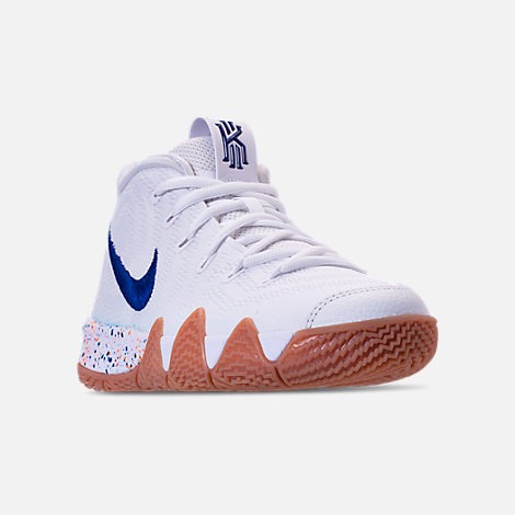 Three Quarter view of Boys' Big Kids' Nike Kyrie 4 Basketball Shoes in White/Deep Royal