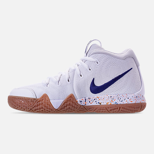 Left view of Boys' Big Kids' Nike Kyrie 4 Basketball Shoes in White/Deep Royal