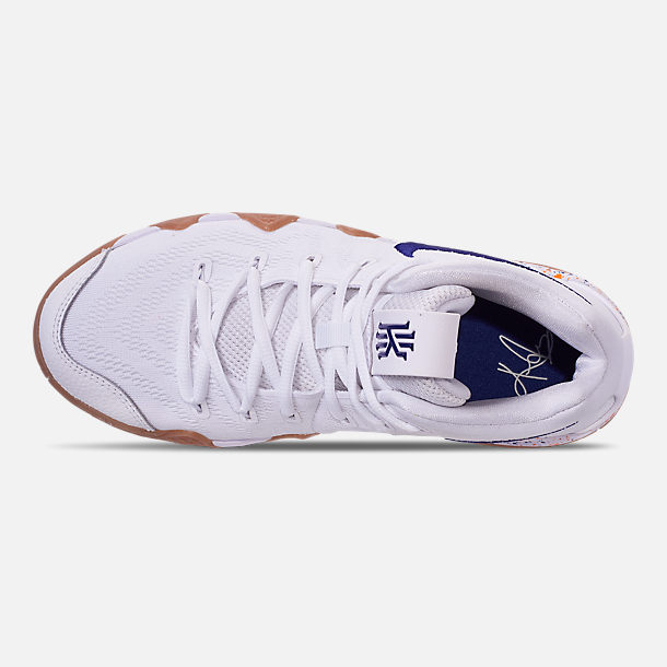 Top view of Boys' Big Kids' Nike Kyrie 4 Basketball Shoes in White/Deep Royal