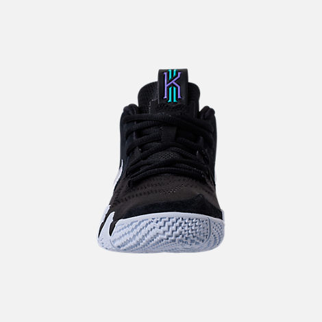 Front view of Boys' Preschool Nike Kyrie 4 Basketball Shoes in Black/White/Anthracite/Light Racer Blue