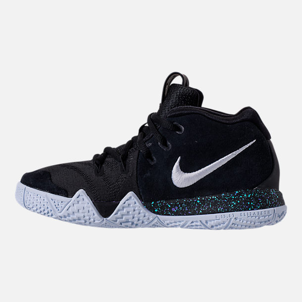 Left view of Boys' Preschool Nike Kyrie 4 Basketball Shoes in Black/White/Anthracite/Light Racer Blue