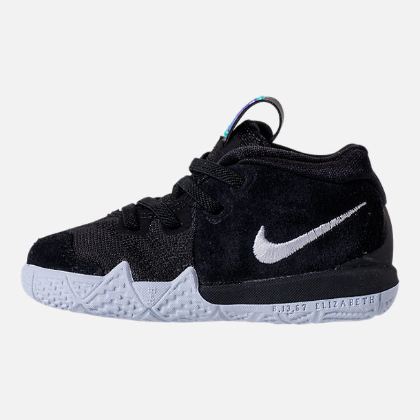 Left view of Boys' Toddler Nike Kyrie 4 Basketball Shoes in Black/White/Anthracite/Light Racer Blue