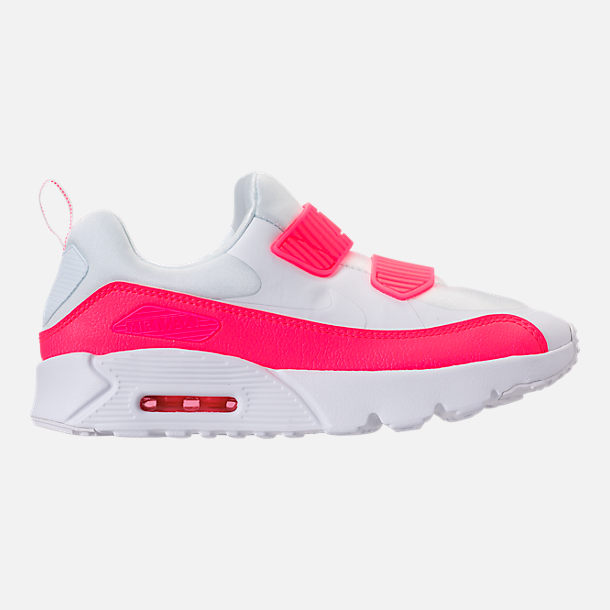 Right view of Girls' Little Kids' Nike Air Max Tiny 90 SE Running Shoes in White/Racer Pink/Rush Pink