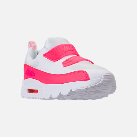 Three Quarter view of Girls' Little Kids' Nike Air Max Tiny 90 SE Running Shoes in White/Racer Pink/Rush Pink
