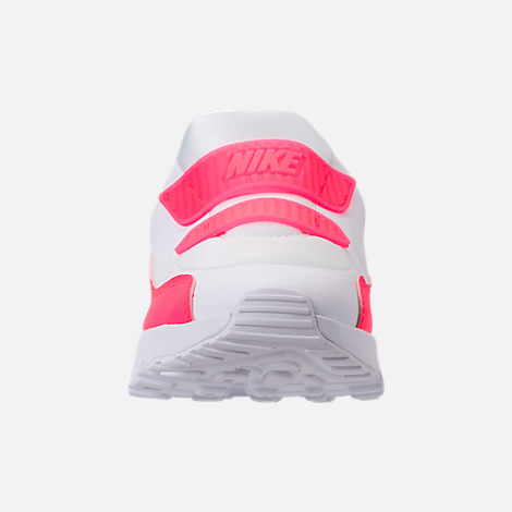 Front view of Girls' Little Kids' Nike Air Max Tiny 90 SE Running Shoes in White/Racer Pink/Rush Pink
