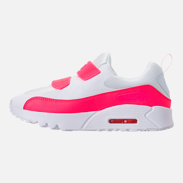 Left view of Girls' Little Kids' Nike Air Max Tiny 90 SE Running Shoes in White/Racer Pink/Rush Pink