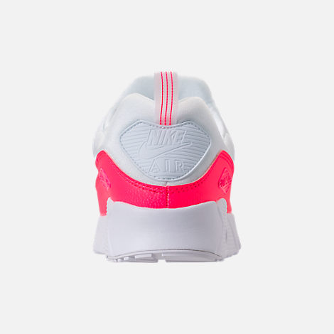 Back view of Girls' Little Kids' Nike Air Max Tiny 90 SE Running Shoes in White/Racer Pink/Rush Pink